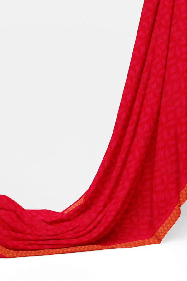 sri kumaran stores linen chiffon saree red saree with golden red border 1 3