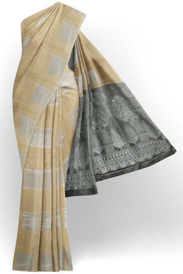 sri kumaran stores semi silk cotton saree half white saree with half white border 1