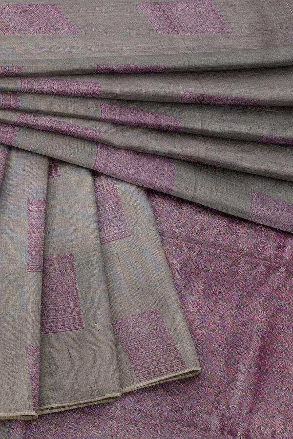 sri kumaran stores semi silk cotton saree light grey saree with grey border 5