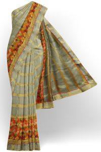 sri kumaran stores brasso saree grey saree with golden grey border 1