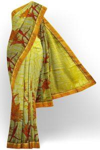 sri kumaran stores brasso saree yellowish green saree with red border 1