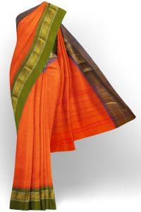 sri kumaran stores chettinad cotton bright orange saree with golden border 1