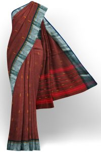 sri kumaran stores chettinad cotton coffee brown saree with silver border 1