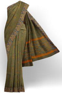 sri kumaran stores chettinad cotton dark green saree with golden blue border 1