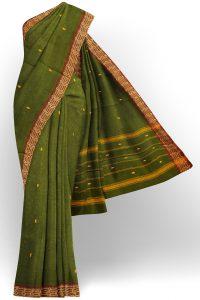 sri kumaran stores chettinad cotton dark green saree with golden brown border 1