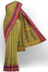 sri kumaran stores chettinad cotton dark yellow saree with purple border 1