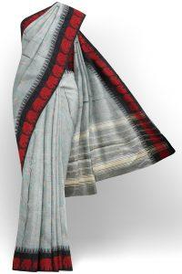 sri kumaran stores chettinad cotton grey saree with red border 1