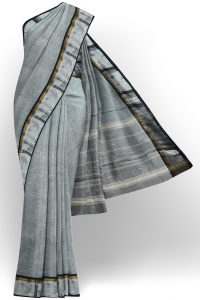 sri kumaran stores chettinad cotton grey saree with silver border 1