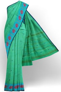 sri kumaran stores chettinad cotton light green saree with sky blue border 1