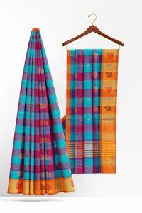 sri_kumaran_stores_cotton_saree_blue_checked_saree_with_orange_border-2.jpg