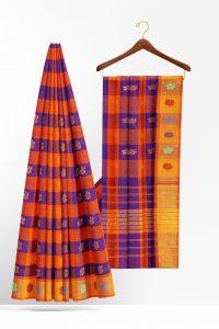 sri_kumaran_stores_cotton_saree_blue_orange_checked_saree_with_yellow_border-2.jpg