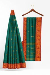sri_kumaran_stores_cotton_saree_dark_green_saree_with_orange_border-2.jpg