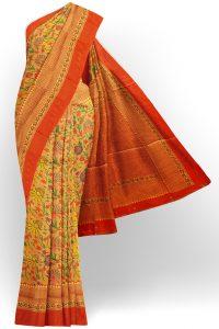sri kumaran stores jakarta saree yellow saree with orange border 1