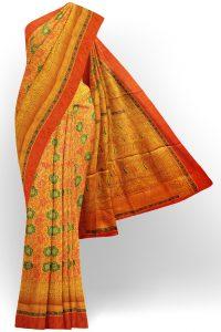 sri kumaran stores jakarta saree yellow saree with orange border 1 1