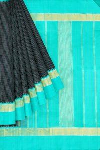 sri kumaran stores kanchipuram silk saree black saree with sky blue border 1