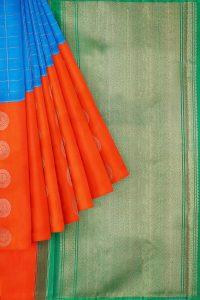 sri kumaran stores kanchipuram silk saree orange blue saree with orange blue border 1