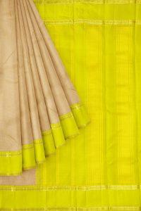 sri kumaran stores kanchipuram silk saree sandal saree with lemon yellow border 1