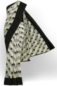 sri kumaran stores linen chiffon saree black and white saree with black border 3 1
