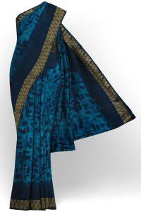 sri kumaran stores linen chiffon saree blue saree with golden dark blue border 1