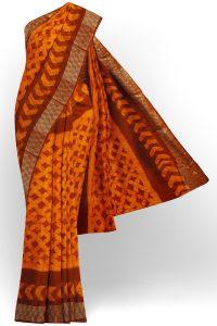 sri kumaran stores linen chiffon saree orange saree with golden brown border 1