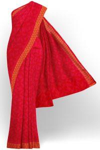 sri kumaran stores linen chiffon saree red saree with golden red border 1 1