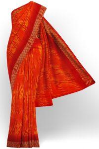 sri kumaran stores linen chiffon saree red saree with red border 1