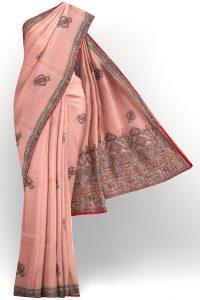 sri kumaran stores linen cotton baby pink saree with floral design border 1