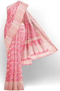 sri kumaran stores linen cotton baby pink saree with golden border 1