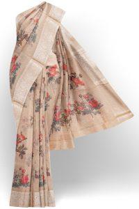 sri kumaran stores linen cotton biscuit brown saree with silver border 1