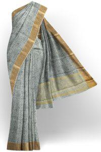 sri kumaran stores linen cotton black and white saree with golden border 1