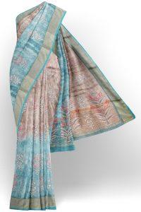 sri kumaran stores linen cotton blue and brown saree with golden border 1