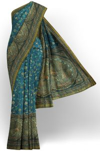 sri kumaran stores linen cotton blue saree with green floral border 1