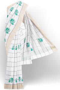 sri kumaran stores linen cotton bright white saree with golden border 1