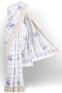 sri kumaran stores linen cotton bright white saree with golden border 1 1
