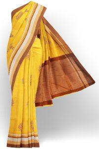 sri kumaran stores linen cotton bright yellow saree with brown border 1