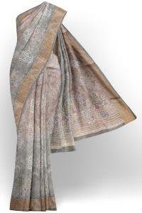 sri kumaran stores linen cotton brown and green saree with golden border 1