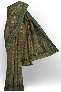 sri kumaran stores linen cotton brown saree with green floral border 1