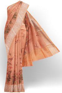 sri kumaran stores linen cotton dark orange saree with golden silver border 1