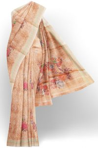 sri kumaran stores linen cotton golden orange saree with yellow border 1