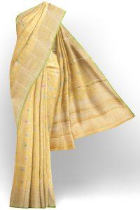 sri kumaran stores linen cotton lemon yellow saree with golden yellow border 1