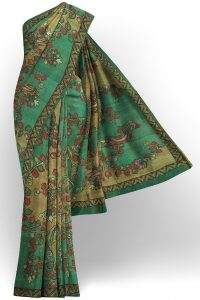 sri kumaran stores linen cotton light green saree with yellow floral border 1