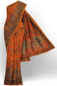 sri kumaran stores linen cotton orange saree with green floral border 1