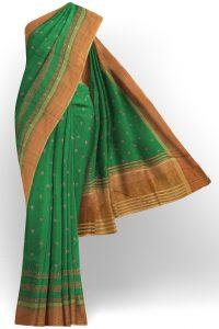 sri kumaran stores linen cotton parrot green saree with golden border 1