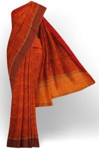 sri kumaran stores linen cotton red saree with brown border 1
