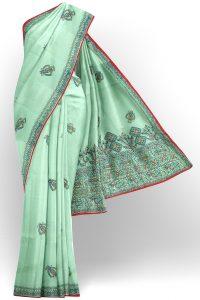 sri kumaran stores linen cotton turquoise blue saree with floral design border 1