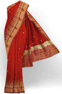 sri kumaran stores linen embroidery saree bright red saree with golden border 1