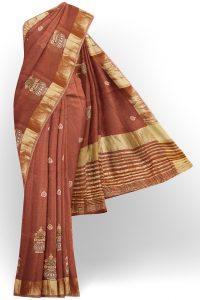 sri kumaran stores linen embroidery saree brown saree with golden border 1