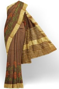 sri kumaran stores linen embroidery saree dark brown saree with golden border 1