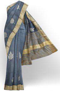 sri kumaran stores linen embroidery saree grey saree with golden border 1