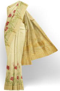 sri kumaran stores linen embroidery saree half white saree with golden border 1